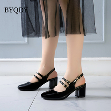 цены BYQDY Women High Heel Pumps Leather Shoes Mary Janes Pumps Square Heel Round Toe Two Belt Plus Size 41-50 Women Wedding Shoes