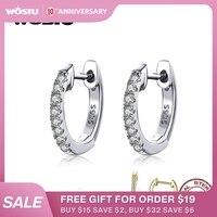 WOSTU 925 boucles d'oreilles en argent Sterling classique rondes en argent boucles d'oreilles en Zircon transparent authentique pour les femmes bijoux de mode CQE498