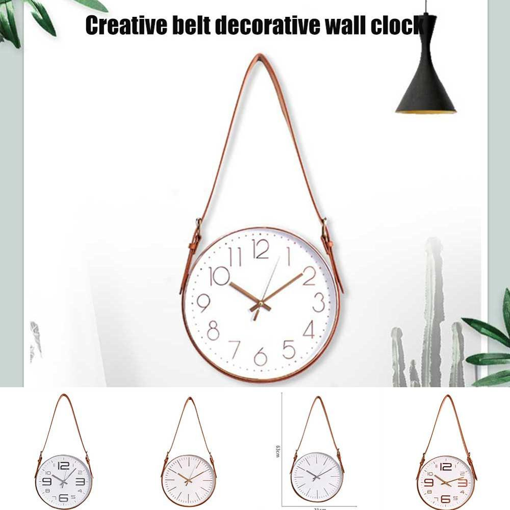 Novelty Nordic Belt Wall Clock Mute One Sided Round Crystal Glass Study Office Clock Home Living Room Decorative Clock Hogard Wall Clocks     - title=