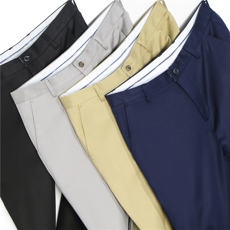 Classic Style Spring Summer Thin Casual Pants Tencel Fabric Business Straight Stretch Trousers Male Brand Light Grey Khaki Navy