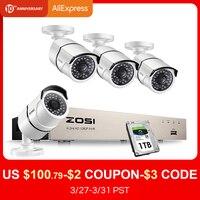 ZOSI nowy 1080P (1920x1080 p) POE System bezpieczeństwa wideo i (4) 2 Megapixel typu bullet zewnętrzna kamery ip z 100ft widzenie w nocy w Systemy nadzoru od Bezpieczeństwo i ochrona na