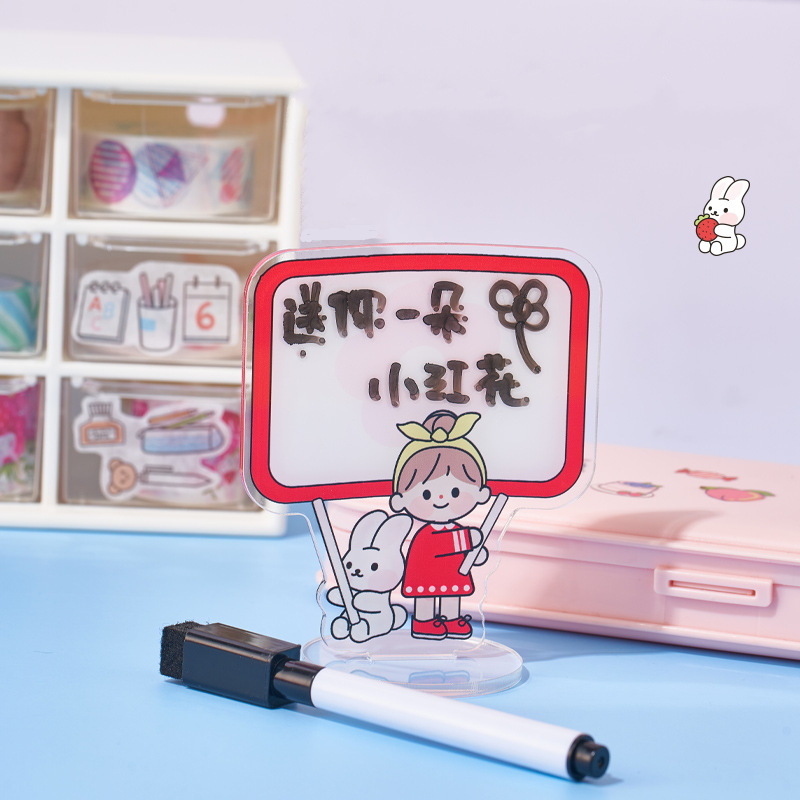 Yisuremia 1pc Creative Kawaii Cartoon Mini Letter Message Board Wordpad Memo Note Borad Phone Stand Holder Free A Pen Stationery