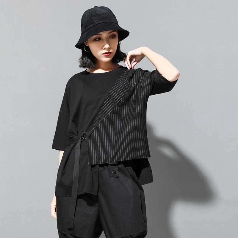 [EAM] Women Black Striped Asymmetrical Big Size T-shirt New Round Neck Half Sleeve  Fashion Tide  Spring Summer 2020 JT230 4