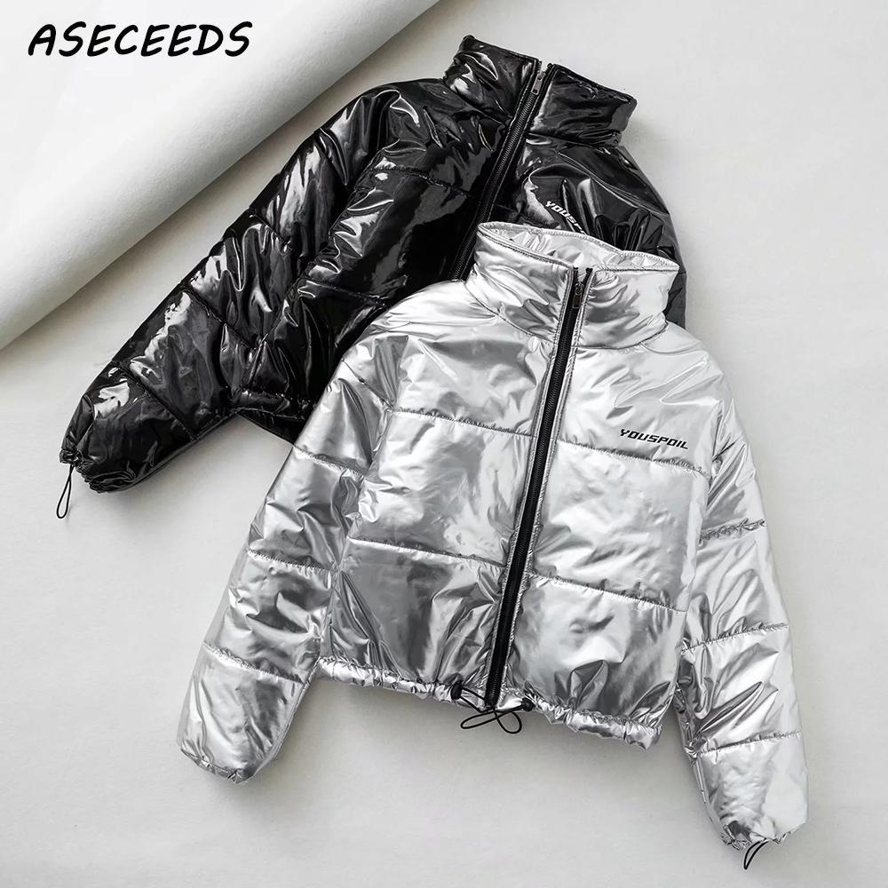 2019 Winter reflective jacket women bomber jacket kawaii fashion puffer jacket warm black coats and jackets women   parkas   korean