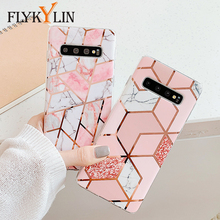 FLYKYLIN Case For Samsung Galaxy S10e S10 Plus S9 S8 + Back Cover on Pink Plating Marble Smooth Soft TPU Silicone Phone Coque наушники earbud plus pink marble