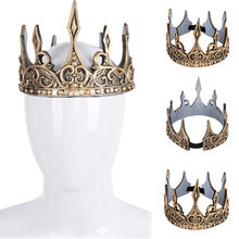Unisex Full Circle Crown Imperial Costume Hair Accessory Gold King Crown Party Beauty pageant Bride Wedding Hair Accessories(China)