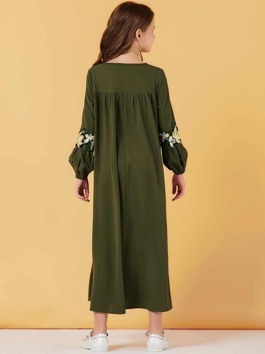 ملابس إسلامية فستان إسلامي للعرق للبنات أكمام منتفخة فساتين مغربية مطرزة بالزهور للأطفال كيمونو دبي a-line Vestido قفطان