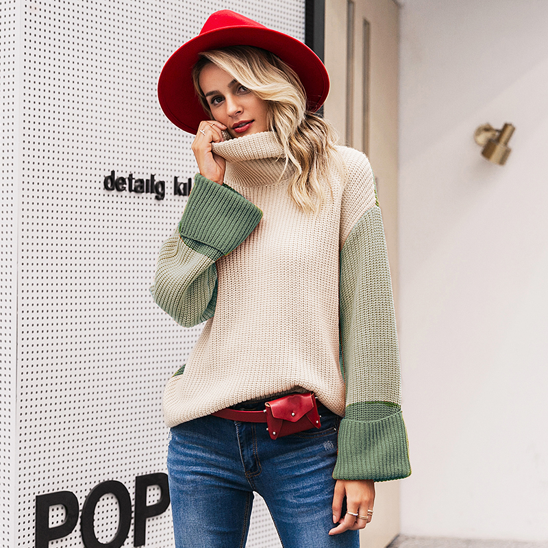 Simplee Patchwork turtleneck knitted sweaters female Casual long sleeve korean pullover jumper Women streetwear ladies sweater 8