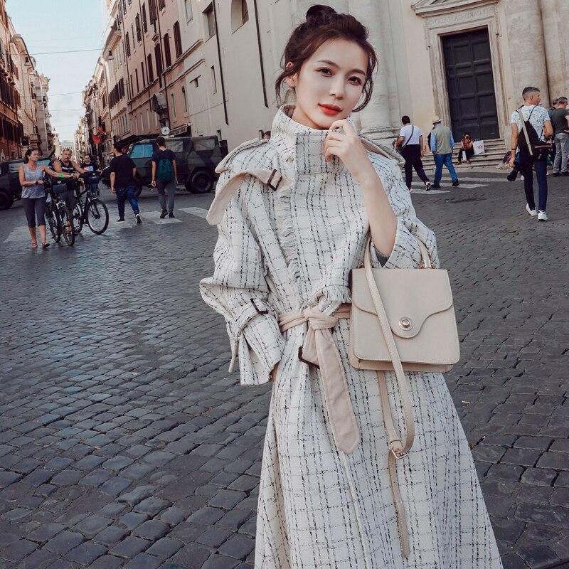 Casaco longo trench coat casacos feminino manteau femme moda feminina moda mujer mais tamanho do vintage elegante túnica roupas coreanas
