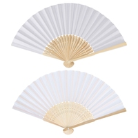30 Pcs Seide Hochzeit Hand Fan mit Organza Geschenk Tasche (Weiß) & 10 Pcs Blank Weiß Chinesischen Klapp Bambus Fan Retro Hand Papier Fans-in Dekorative Lüfter aus Heim und Garten bei