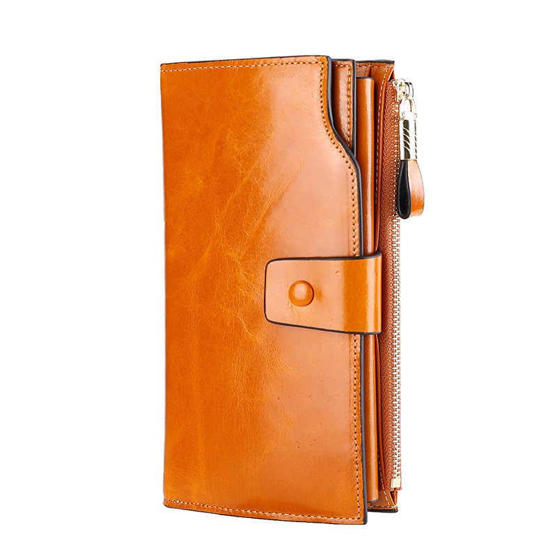Deri cüzdan unisex retro çok fonksiyonlu dana anti-hırsızlık cüzdan tipi büyük kapasiteli yağı balmumu katman deri