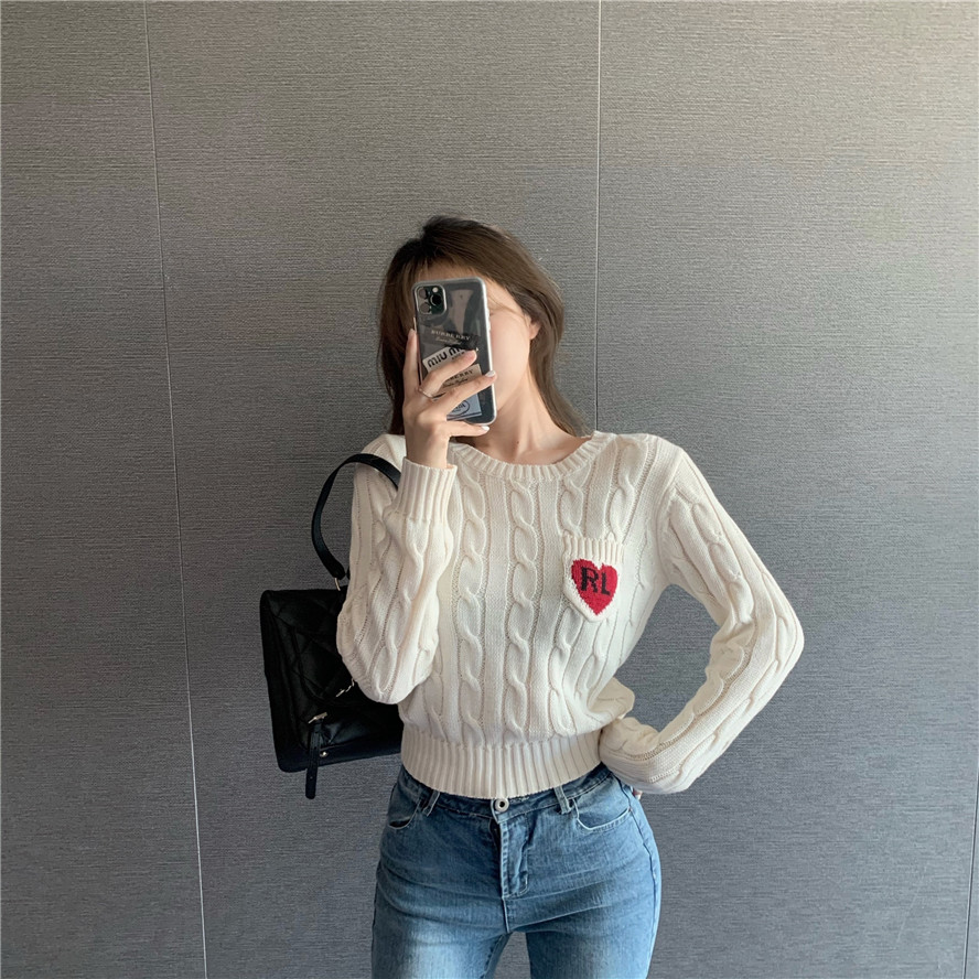 GRUIICEEN Autumn Spring Knitted Heart Sweater Long Sleeve Round Neck Sweaters And Pullovers 2020 Newest Fashion