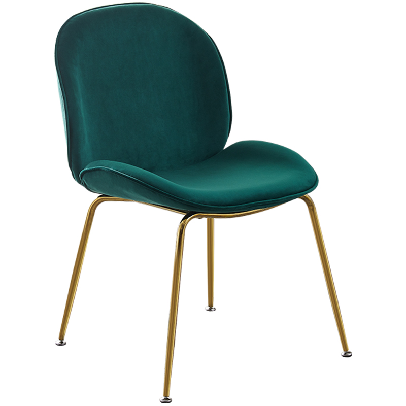 Nordic Modern Gold Steel Design Dining Room Chair Home Leisure Beetle Chair Suede Fabric Restaurant Stool