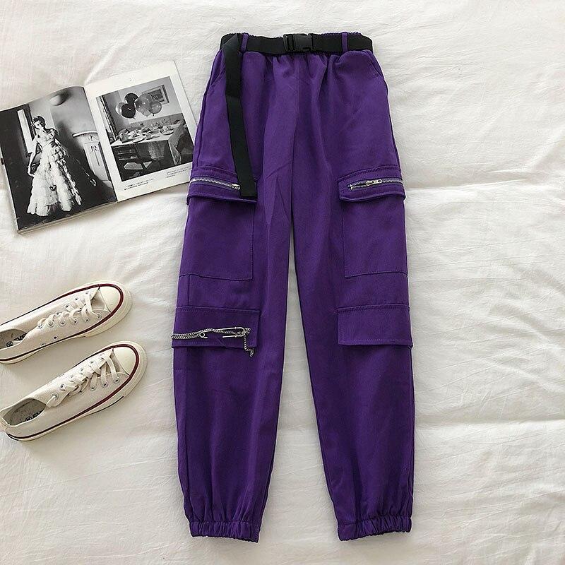 Loose Casual Unisex Lovers Cargo Pants High Waist Hip Pocket Chain Design Pantalones Mujer Spring 2020 New Pantalone
