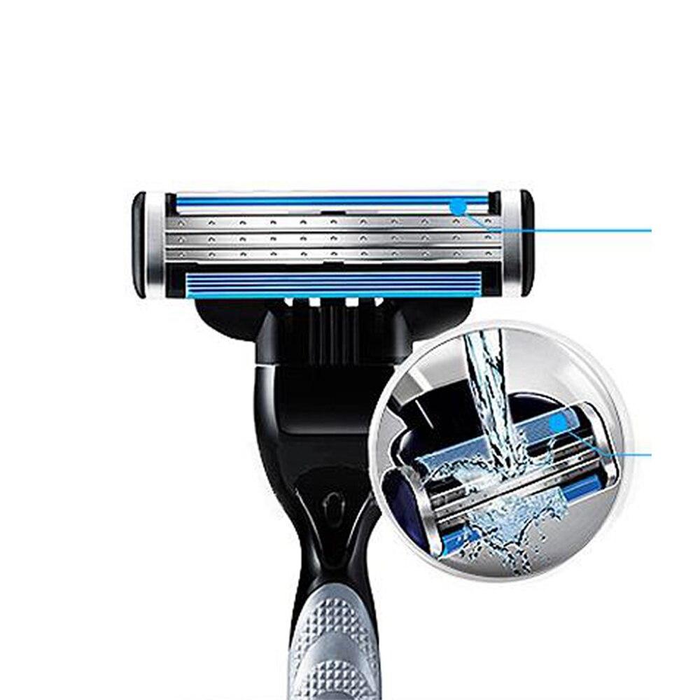 Купить с кэшбэком 4pcs/lot Shaving Razor Blades For Men Smooth Shaving to Shave Beard 4 Layers Blades