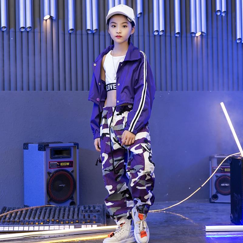 Kids Hip Hop Sweatshirt Pants Crop Top Jazz Dancing Costumes For Girls Boys Ballroom Dance Costumes Stage Wear Outfits Dancewear