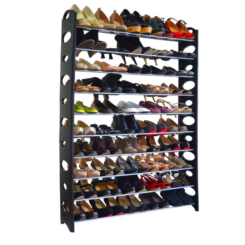 50 Pair 10-Tier Shoe Rack Shelf Storage DIY Large Shoe Cabinet Tower Shoes Organizer Space Saving Furniture For Home - US Stock