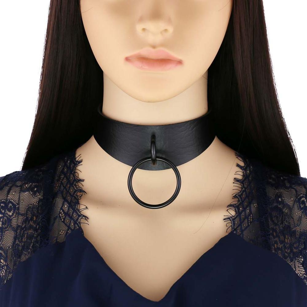 Goth choker dark aesthetic grunge vegan leather collar punk chokers harajuku emo necklace chocker halloween accessories(China)