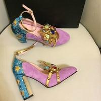 Pink Wine Red Kidsuede Women Pumps Rivets Rhinestone Crown Decor High Heels Mary Janes Flower Crystal Wedding Shoes for Ladies