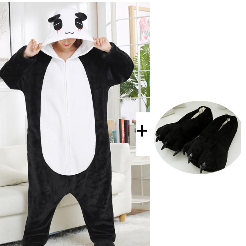 Double Zippers Panda Kigurumi Pajamas Cute Bear Onesies For Adults One-Piece Animal Pijamas Men Women Halloween Cosplay Costume