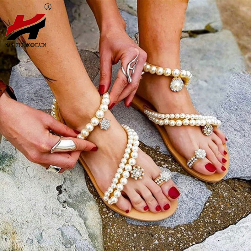 NAN JIU MOUNTAIN 2020 Summer Women Leather Sandals Fashionable Wild Pearl Open Toe Flat Sandals Solid Color Plus Size Shoes