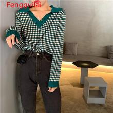 V Neck Contrast Color Patch Dot Design Pull Femme Turn Down Collar Contrast Color Long Sleeve Knit Sweater Warm rainbow patch contrast binding halter romper