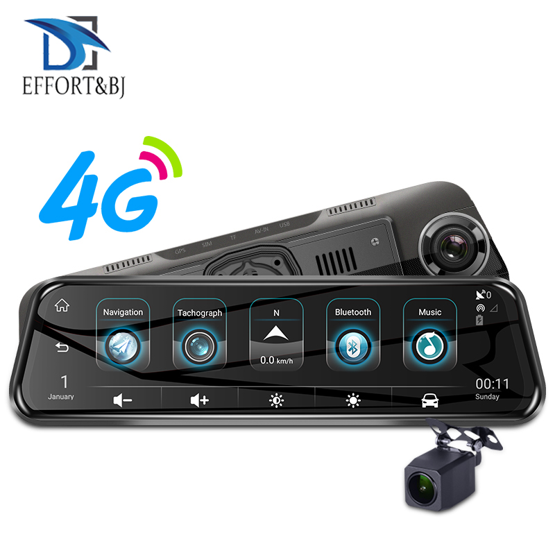 Effort&BJ 4G 1080P Dash Cam 10'' Rearview <font><b>Mirror</b></font> Camera Dual Lens <font><b>Car</b></font> <font><b>Dvr</b></font> <font><b>GPS</b></font> ADAS <font><b>Recorder</b></font> Registratory Camcorder Night Vision image