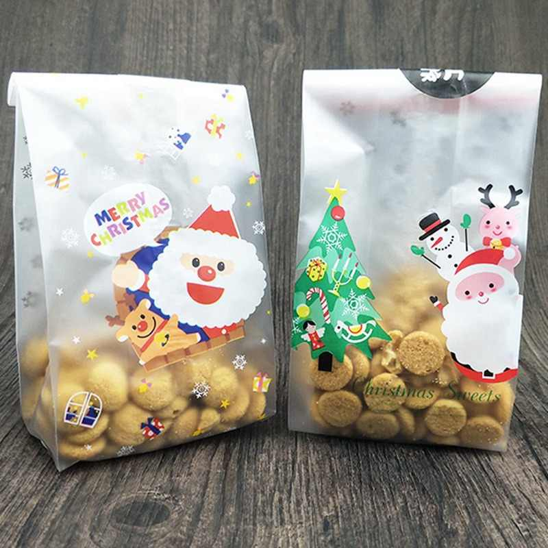 10pcs/lot Merry Christmas Baking Packaging Bags Cartoon Christmas Santa Claus Snowman Snack Candy Bag Cookies Candy Storage Bag
