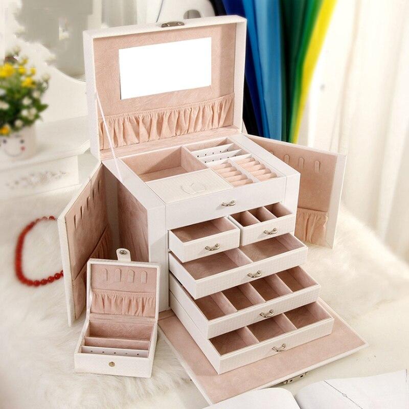 Jewelry Storage Box European-style Korean PU Leather Drawer Jewelry Makeup Box Five-layer Large-Capacity Jewelry Storage Box