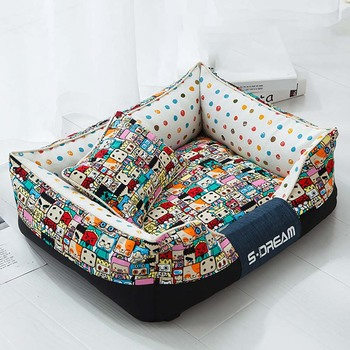 Dog Bed For Large Medium Small Dogs Detachable Washable Kennel Waterproof Bottom Soft Cat Sofa Pet Sleeping House Dog Supplies jiahui a038 detachable cotton fabric sponge pet dog cat house kennel red white grey