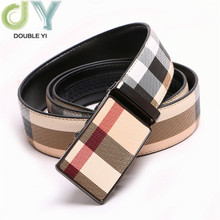 Luxury Belt  Casual Plaid Belt For Men Real Leather Automatic Buckle Belt Classic Fashion Belt stylish automatic buckle classical checked pattern coffee color belt for men