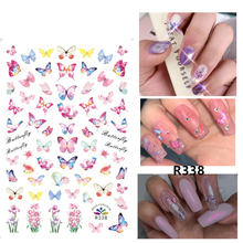 Self-adhesive 3D Stickers for Nails Pink Butterfly Flowers Nail Art Decorations Small