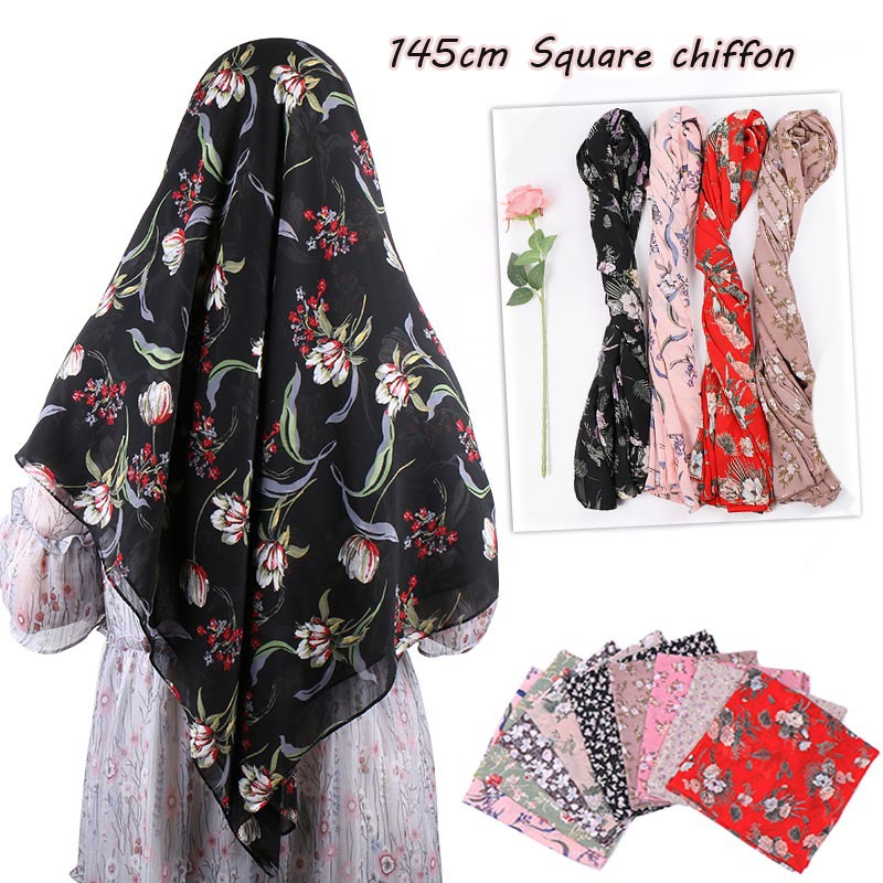 Fashion African Floral Bubble Chiffon Instant Hijab Shawl High Quality Big Square Head Scarf Bufandas Muslim Bonnet 145*145 Cm