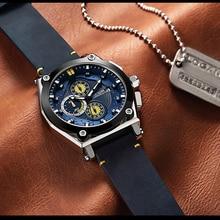 Blue Quartz Men Watches Top Brand Leather Strap Chronograph Sport Wrist Watch Men Clock Relogio Masculino Reloj Hombre