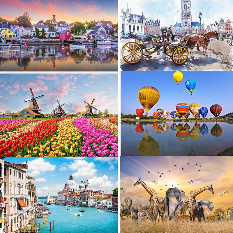 New Jigsaw Puzzle 500 Pieces Assembling Picture Landscape Puzzles Toys Game Difficult For Adults Children Educational Kids Toys