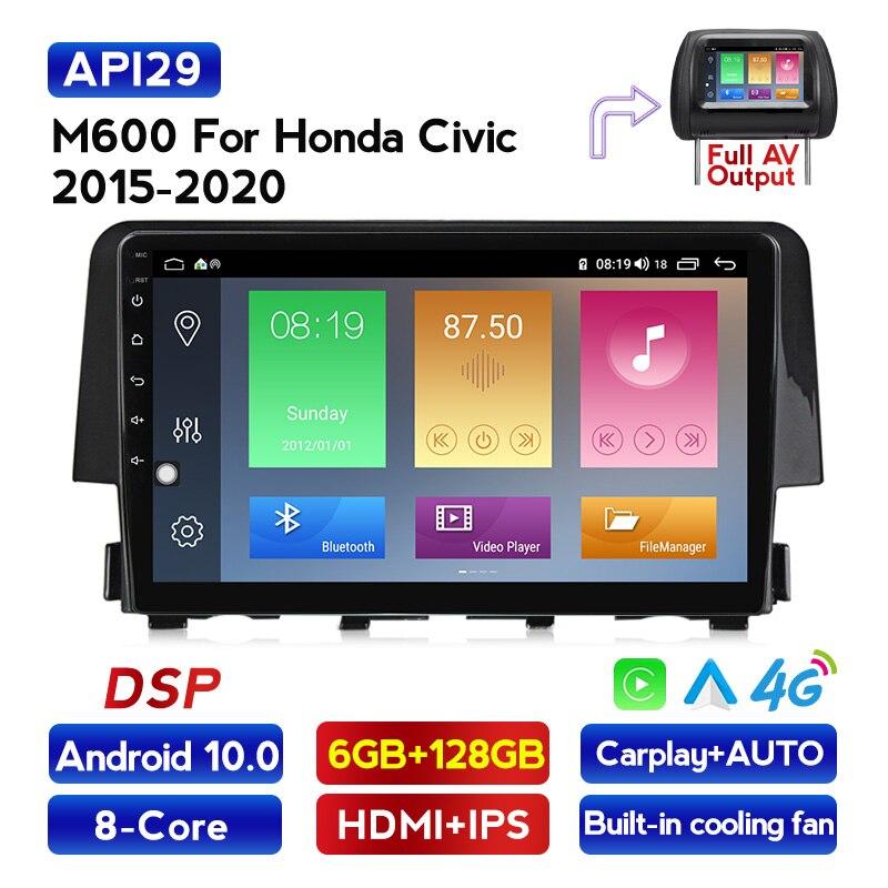 Navifly android ips dsp reprodutor de rádio multimídia carro para honda civic 2016 2017 4g lte carplay volante controle gps