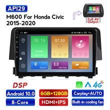 Navifly-radio Multimedia con GPS para coche, radio con reproductor, Android, IPS, DSP, 4G LTE, control de dirección, para Honda Civic 2016 2017
