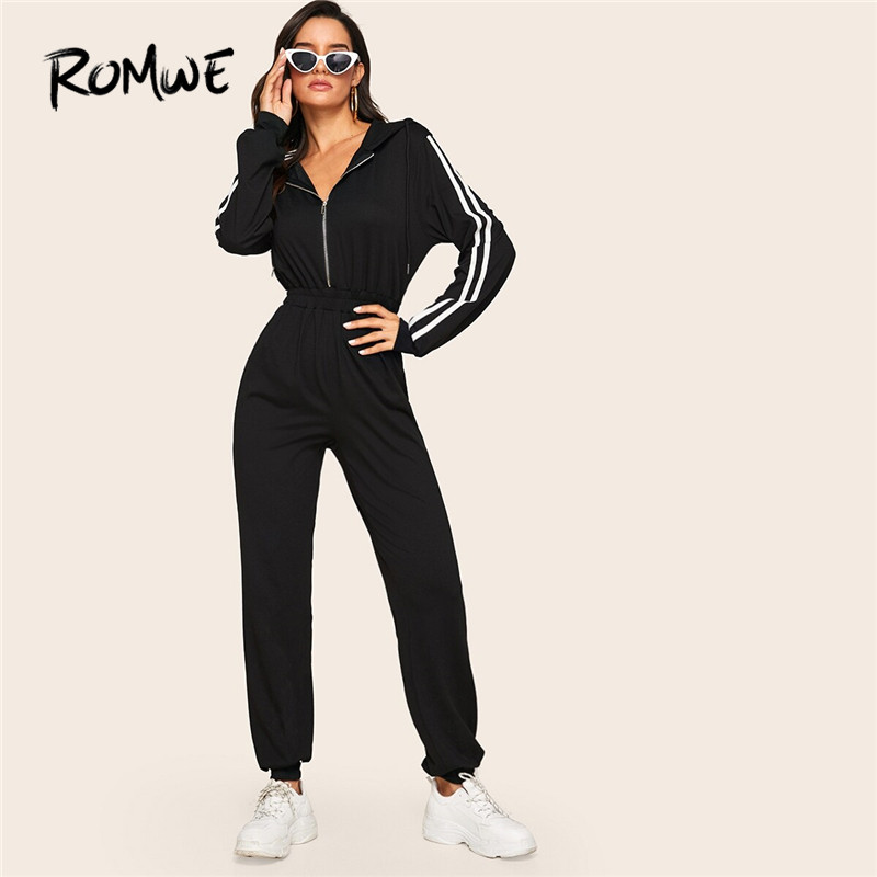 ROMWE Striped Side Zip Front Drawstring Hooded Black Jumpsuits For Women 2019 Sporty Casual Fall Long Sleeve Jumpsuit Overalls
