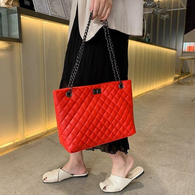 Sac femme célèbre marques de luxe motif à carreaux mode chaîne en cuir PU femme sacs à bandoulière haute qualité dame épaule fourre-tout