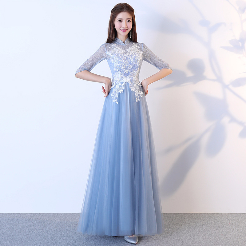 Bridesmaid Clothing Autumn And Winter Korean-style 2019 New Style Long Sleeve Long Bridesmaid Mission Formal Dress Sisters Skirt