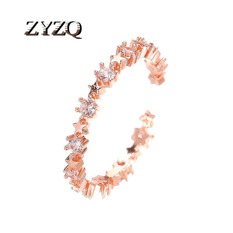 ZYZQ милые корейские Регулируемые кольца для женщин модные кубические циркониевые звезды кольцо на палец Ювелирные изделия Подарки для деву...