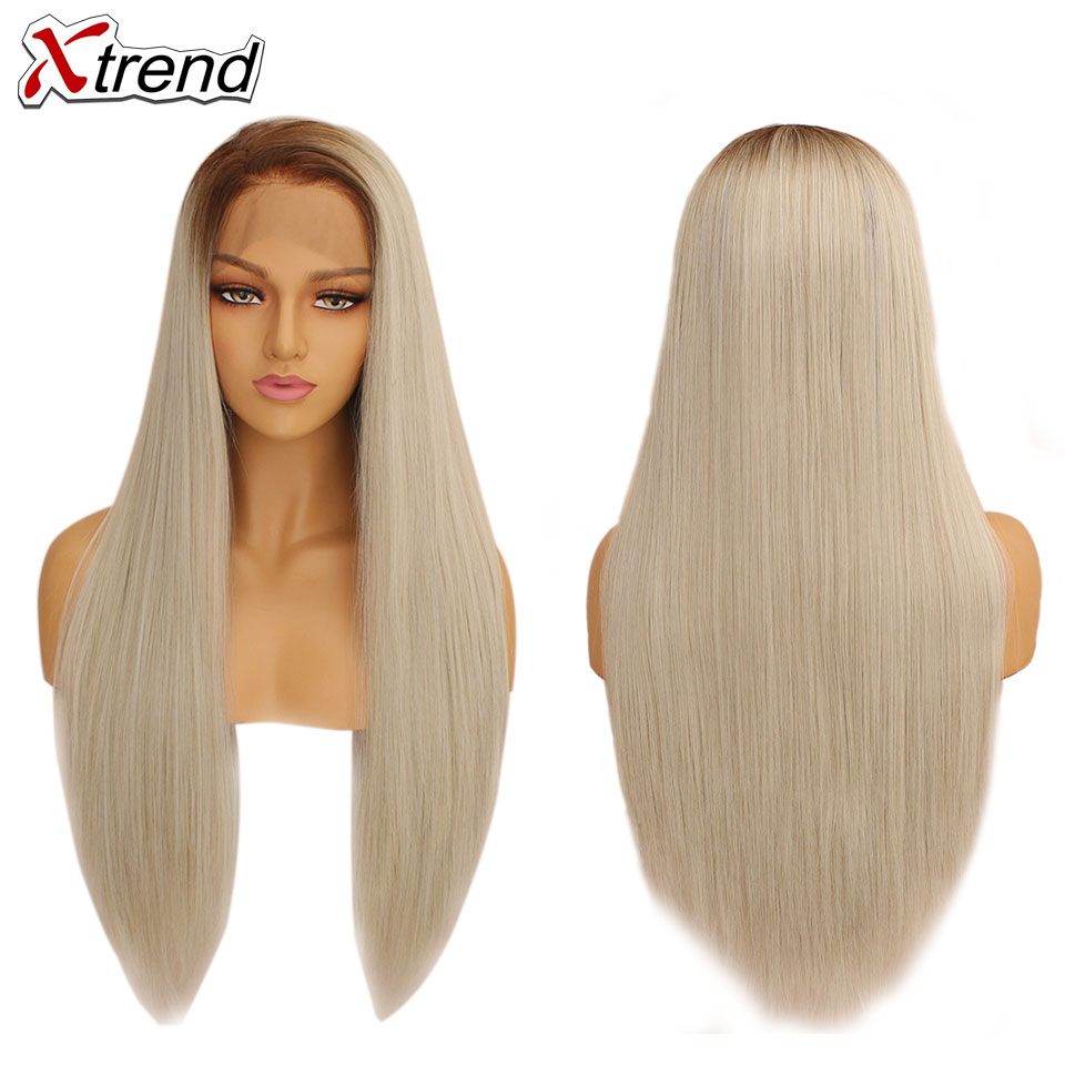 Image 3 - Xtrend Straight Synthetic Lace Front Wig White Pink Purple Green Blonde 613 Grey 60 Copper Wigs For Black Women Heat Resistant-in Synthetic Lace Wigs from Hair Extensions & Wigs