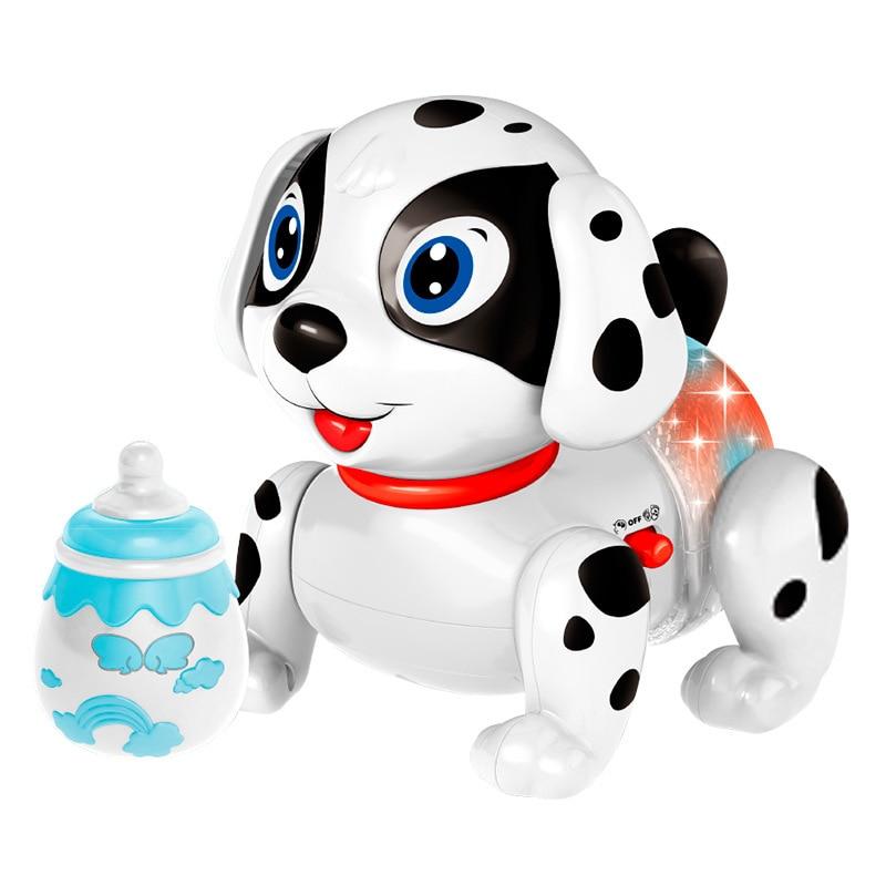 Model Electric Feeding Bottle Dog Light Music Story Crawling Dog Smart Shilly Dog CHILDREN'S Toy