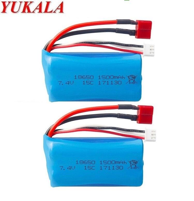 Wltoys 12428 12423 12401 12402 12403 12404 1/12  RC Truck Battery 7.4v 1500mah Li-ion Battery 15c 18650 T Plug