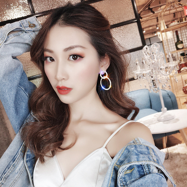 2020 Crystal Drop Earrings Luxury Shining Gold Silver Color Round Rhinestone Dangle Earring for Women Wedding.jpg 640x640 - 2020 Crystal Drop Earrings Luxury Shining Gold Silver Color Round Rhinestone Dangle Earring for Women Wedding Party Jew