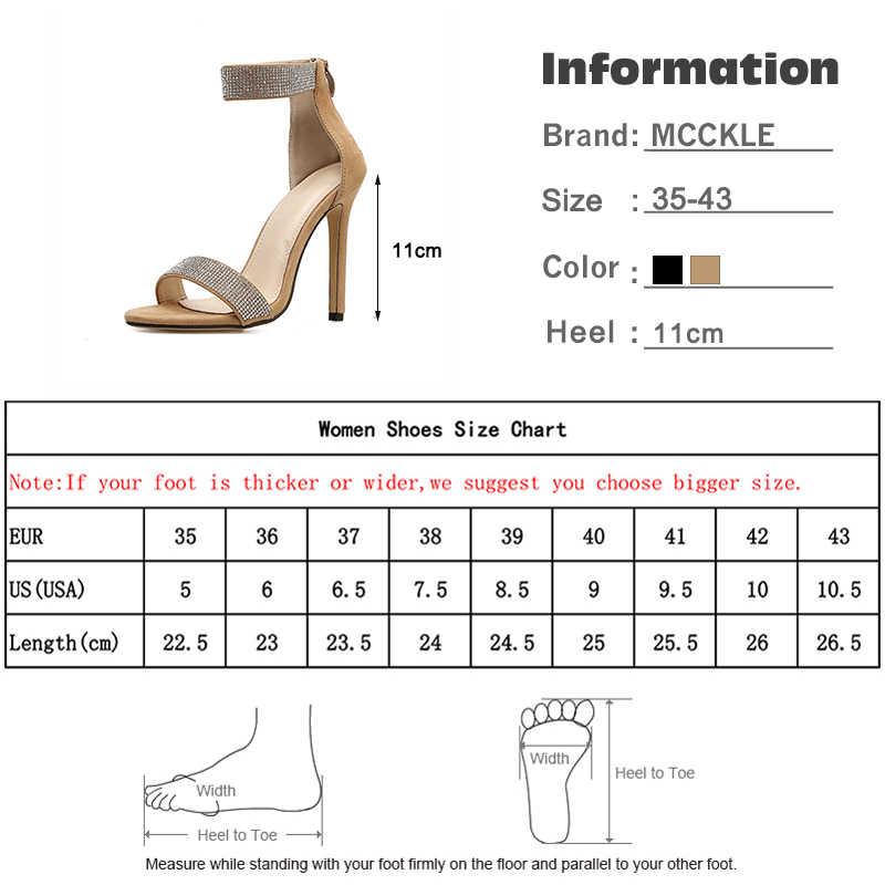 MCCKLE lato 2020 kryształ kobiety błyszczące sandały kobiety szpiczasty nosek zamek kobiet Sexy szpilki Stiletto wesele buty nowy
