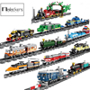 Miasto Creator pociąg tory kolejowe stacja pasażer Cargo Wagon zestaw silnika klocki pociągi świąteczne zabawki dla dzieci prezenty