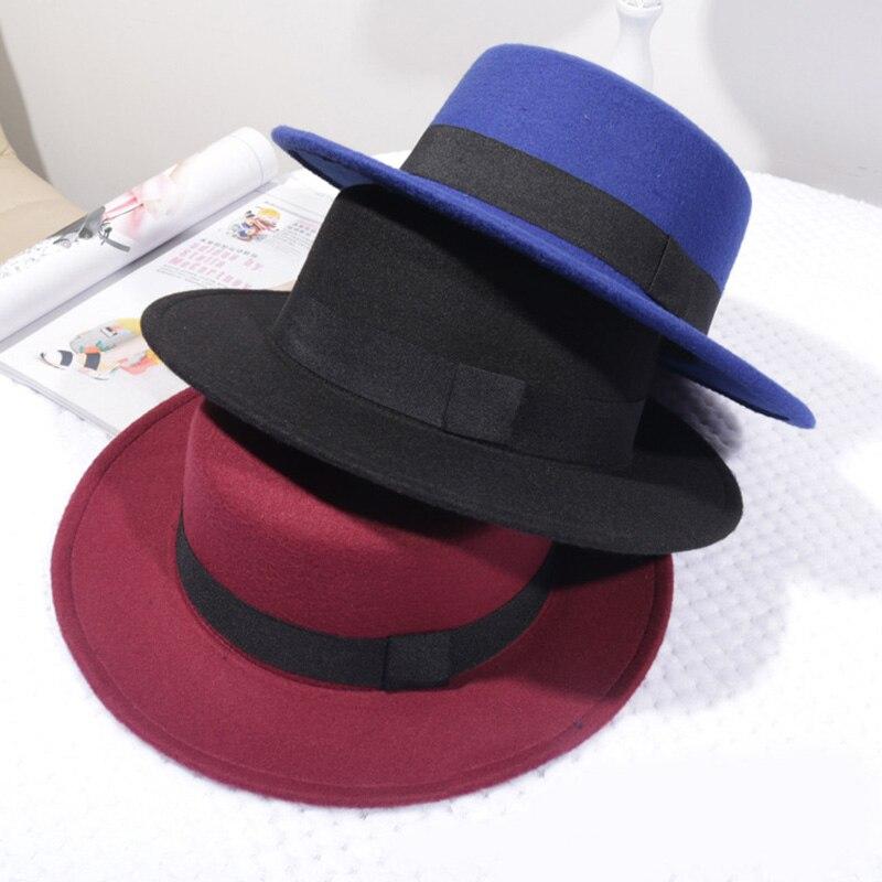 Spring Autumn Woolen Women Hat Classic Solid Color Felt Fedoras Hats Female Lady Wide Brim Flat Top Jazz Cap 4
