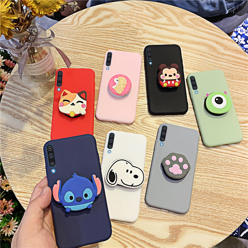 3D Silicone Cartoon Phone Holder Case For Samsung Galaxy A50 A30 A40 A20 A10 A70 A60 A80 A7 2018 A8s Cute Stand Soft Back Cover image