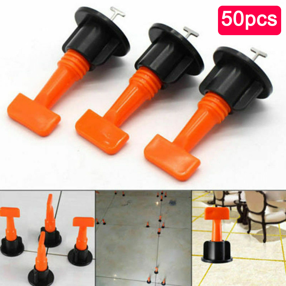 50PCS Wedges Positioning System Level Pliers Floor Wall Spacers Tile Leveler T-lock Master